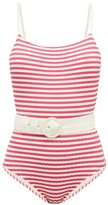 Solid & Striped Nina Belted Striped Jersey Swimsuit - Womens - Pink Stripe