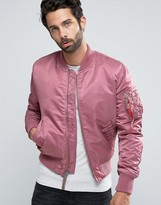 Alpha Industries Ma-1 Bomber Jacket Insulated In Slim Fit Dusty Pink