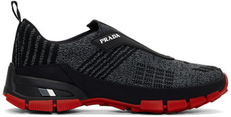 Prada Black and Grey Knit Muline Sneakers