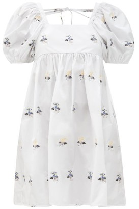 Cecilie Bahnsen Tilde Hawthorn Floral-embroidered Poplin Dress - White Multi