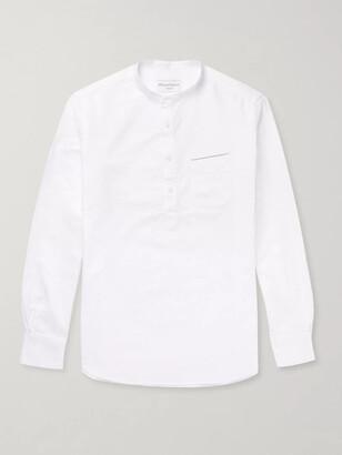 Officine Generale Auguste Grandad-Collar Cotton Oxford Shirt