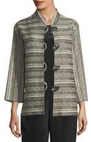 Caroline Rose Mixed Striped Jacquard Jacket, Plus Size