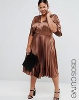 Asos Satin Pleated Caftan Midi Dress