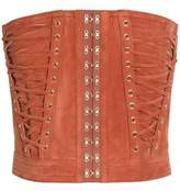 Balmain Strapless Lace-Up Suede Top
