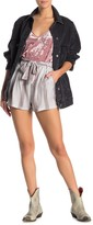 Angie Tie Front Stripe Print Shorts