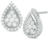 1 CT. T.W. Composite Diamond Teardrop Frame Stud Earrings in 10K White Gold