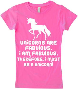 Micro Me Girls' Tee Shirts Hot - Hot Pink 'Unicorns' Fitted Tee - Girls