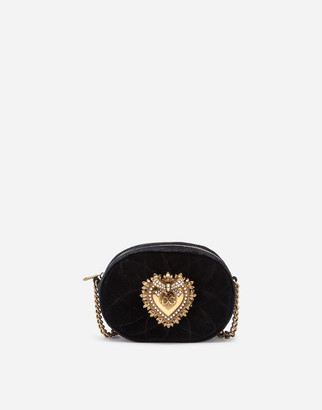 Dolce & Gabbana Devotion Camera Bag In Quilted Smooth Velvet