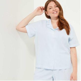 Joe Fresh Women+ Collar Sleep Shirt, Light Blue (Size 3X)