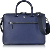 MCM Pistol Blue Ottomar Grain Leather Medium Briefcase