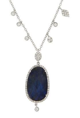 Meira T 14K 1.66 Ct. Tw. Diamond & Blue Labradorite Necklace
