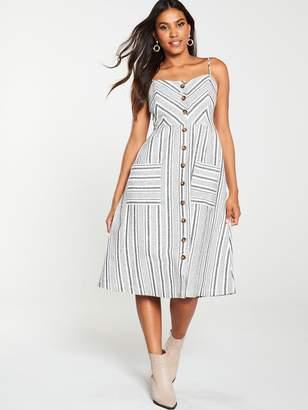Warehouse Stripe Button Linen Dress - Grey Stripe