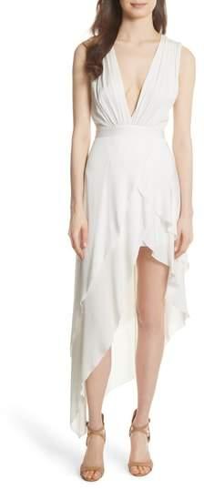 Alice + Olivia Chantay Asymmetrical Plunging Maxi Dress