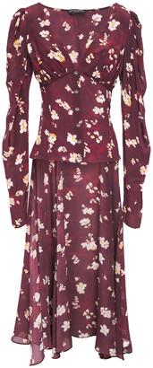 Caroline Constas Mya Asymmetric Floral-print Silk Crepe De Chine Top