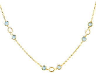 Latelita Milan Link Gemstone Necklace Gold Blue Topaz