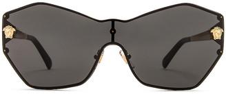 Versace Rock Icons Metal Sunglasses in Gold & Dark Grey   FWRD