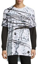 PRPS Splatter-Print Long-Sleeve T-Shirt, White/Black