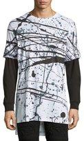 PRPS Splatter-Print Long-Sleeve T-Shirt, White/Black