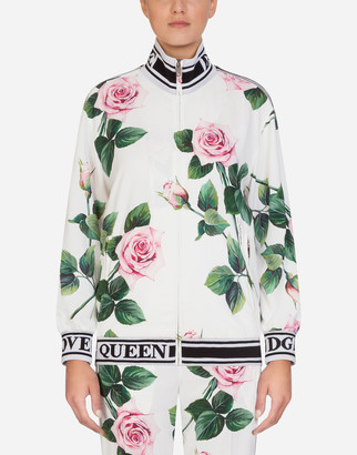 Dolce & Gabbana Cady Fabric Tropical Rose Print Zip-Up Hoodie