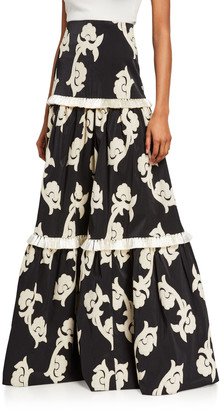 Alexis Surrey Printed Tiered Maxi Skirt w/ Fringe