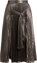 Christopher Kane Tie-front pleated lamé midi skirt