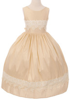Couture Cinderella Girls' Special Occasion Dresses champagne - Champagne Lace-Trim Fit & Flare Dress - Toddler & Girls