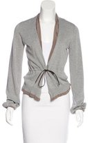 Brunello Cucinelli Satin-Trimmed Long Sleeve Cardigan
