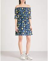 The Kooples Off-the-shoulder floral-print chiffon mini dress