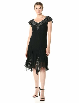 J Kara Women's Flutter Sleeve Hanky Hem Short Cocktail Beaded Dress