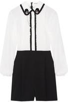 Alice + Olivia Kara Embellished Ruffle-trimmed Chiffon And Stretch Silk-crepe Playsuit - White
