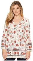 Miss Me Floral V-Neck Bell Sleeve Tunic Women's Clothing