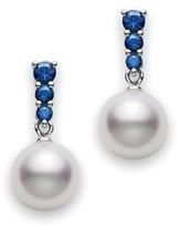 Mikimoto 18K White Gold with Blue Stone & Akoya Cultured Pearl Morning Dew Earrings