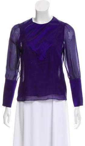 a56da7436e3 Sheer Purple Blouse - ShopStyle