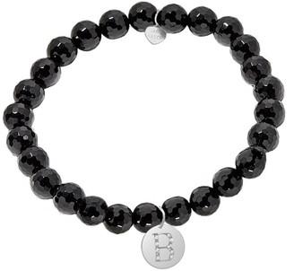 Jane Basch Silver Diamond & Onyx Initial Stretch Bracelet (A-Z)