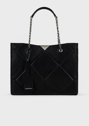 Emporio Armani Quilted Shopper Bag With Goat Print