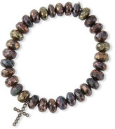Sydney Evan 8mm Faceted Brown Rondelle Pyrite Bead Bracelet with 14k Blackened Gold Cross Charm