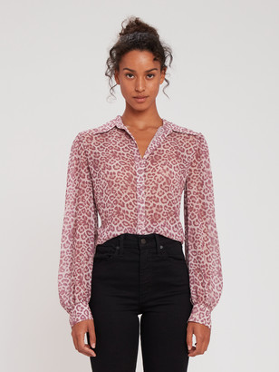 7 For All Mankind Puff Sleeve Button Up Blouse