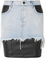 Alexander Wang Layered Distressed Denim And Leather Mini Skirt - Black