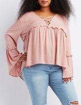Charlotte Russe Plus Size Lattice-Front Babydoll Blouse