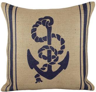 Anchor Burlap Pillow, Navy