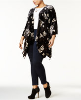 NY Collection Plus Size Velvet Floral-Print Cardigan