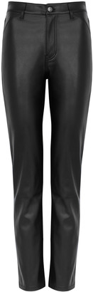 Free People Rebel At Heart black slim-leg faux leather jeans