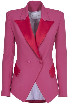Hebe Studio Pink And Red Loulou Blazer