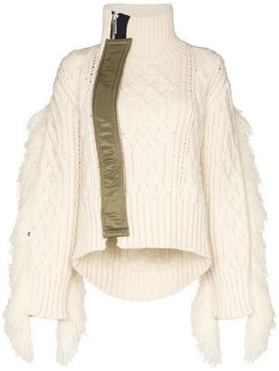 Sacai Fringed Cable-Knit Sweater