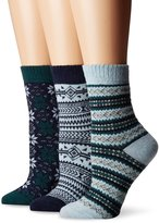Muk Luks Women's 3 Pair Pack Holiday Boot Socks