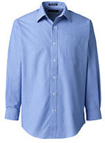 Lands' End Men's Big and Tall Long Sleeve Pattern Straight Collar Broadcloth Shirt-True Blue Stripe