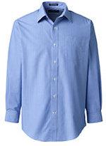 Lands' End Men's Big Long Sleeve Pattern Straight Collar Broadcloth Shirt-True Blue Stripe