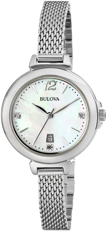 Bulova Women's 96P150 Diamond Gallery Analog Display Japanese Quartz White Watch