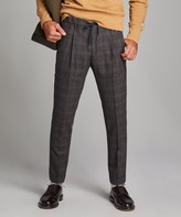 Todd Snyder Italian Stretch Wool Glen Plaid Pleated Elastic Pant