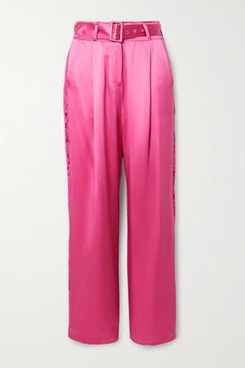 Fleur Du Mal Belted Lace-trimmed Silk-satin Wide-leg Pants - Bright pink